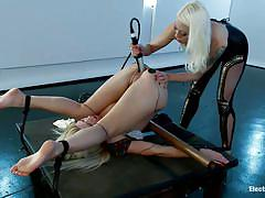 tattoo, bdsm, big ass, lesbian domination, screaming, anal insertion, blonde milfs, gag, electrodes, electric dildo, anikka albrite, lorelei lee, electro sluts, kinky dollars