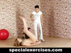 Nude sports training for blonde teen