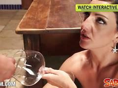 Hot milf carla pons fucked and drinks cum