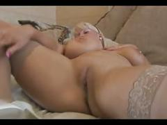 Busty blonde milf striptease
