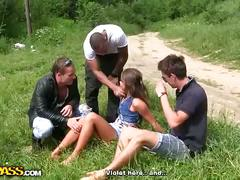 Teen cutie's outdoor hardcore gang-bang