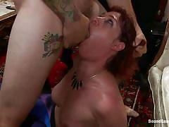 Sweet red haired mature banged in all her holes