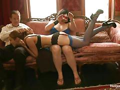 milf, bdsm, hanging, domination, blowjob, from behind, submission, black hair, ropes, beretta james, maestro stefanos, the upper floor, kinky dollars