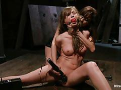 small tits, tied, lesbian domination, vibrator, spread legs, brunette milf, ball gag, vaginal insertion, electrodes, brown haired, capri anderson, princess donna dolore, wired pussy, kinky dollars