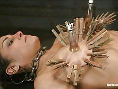 spanking, hanging, vibrator, tit torture, brunette milf, laundry pliers, executor, suckers, in chains, tied on table, beretta james, the pope, the training of o, kinky dollars