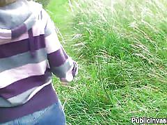 Czech chick gives head outdoors wearing only her white panties