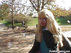 Blonde babe sucking cock in the park