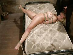 bdsm, vibrator, bubble butt, tied up, blonde milf, ass fingered, ropes, on the floor, dildo sucking, hogtied, kink, cherie deville, cherie deville, hogtied, kinky dollars