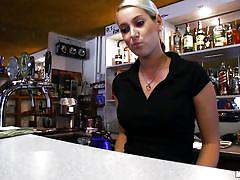 Hot blonde bartender giving head