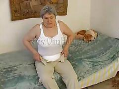 Fat old granny masturbating alone