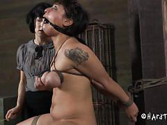 tattoo, bdsm, torture, mistress, brunette, tied up, ropes, squeezing boobs, mouth gagged, sharp stick, hard tied, siren wolf, siren wolf, hard tied, kinkster cash