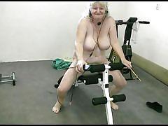 blonde, granny, exercise, solo, saggy tits, naked, gym, working out, fat, old nanny, bohunka, bohunka, old nanny, oma cash