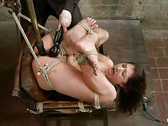 milf, bondage, bdsm, vibrator, brunette, moaning, tied up, ropes, stick with dildo, hogtied, kink, scarlet banks, scarlet banks, hogtied, kinky dollars