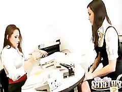 Celeste star and georgia jones get down and dirty at work!