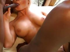 Two huge black cocks banging horny blonde