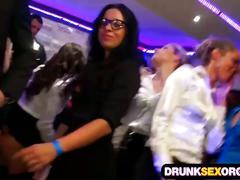 Drunk babes suck cock