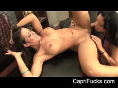 Lesbian office babes capri and zoe in hot action