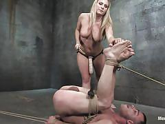 Big boobs blonde giving anal pain to her man