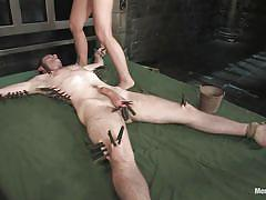 small tits, tattoo, facesitting, pain, femdom, bdsm, pussy licking, ropes, clothespins, tied on bed, balls torture, sara faye, nomad, men in pain, kinky dollars