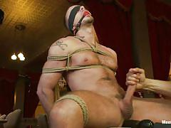 handjob, dildo, ass fingering, blindfolded, gay bdsm, anal insertion, ropes, on chair, ball gag, tied gay, shibari, jessie colter, men on edge, kinky dollars
