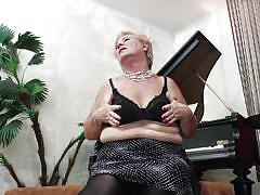 blonde, granny, big tits, solo, piano, short hair, undressing, gilf, hard nipples, saggy boobs, stylish, josinda, mature eu, mature money