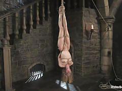 Pretty blonde milf hanging upside down and getting wet