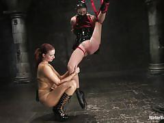 lesbian, bdsm, abuse, hanging, redhead, brunette, masked, pussy slapping, water bdsm, water jet, shibari, claire adams, charlotte brooke, water bondage, kinky dollars