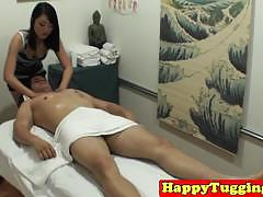 Spycam asian massage jerking and riding a big cock