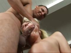 Brutal throat fucking of blonde