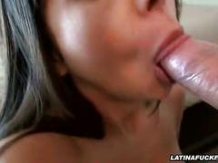 Busty latina sucks and titty fucks a big dick