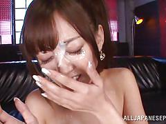 Sexy asian slut has fun with two dicks