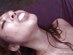 Her mouth are full of warm jizz