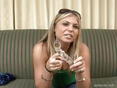 Blonde teen monika dupree plays pussy with dildo