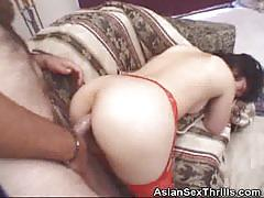 Japanese babe enjoys a hard anal pounding