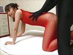 Skinny japanese girl and spandex guy