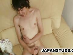 Japanese twink wanking with hot porn mag