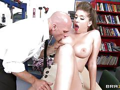 milf, big tits, schoolgirl, blowjob, library, desk, brunette, big dick, at school, big tits at school, brazzers network, johnny sins, alex chance