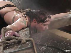 big tits, stockings, dildo, screaming orgasm, from behind, german milf, nice ass, wet ass, water bdsm, water jet, katja kassin, water bondage, kinky dollars