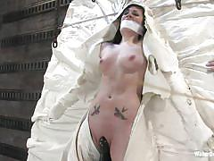 bdsm, young girl, vibrator, tattooed, caned, gagged, nice tits, black hair, shaved pussy, wrapped up, andy san dimas, water bondage, kinky dollars