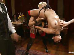 bondage, big tits, hanging, stockings, blonde milf, brunette milf, clothespins, tattooed babe, dylan ryan, beretta james, maestro stefanos, the upper floor, kinky dollars
