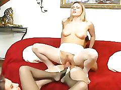 Hosiery lovers give a footjob and fuck in nylons