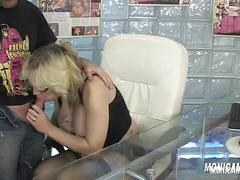 Norwegian monicamilf is fucking her boss at work office porn