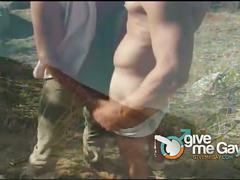 Muslced hunks loading ass outdoors