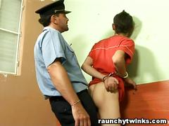 Horny cop loves to fuck twink's butt