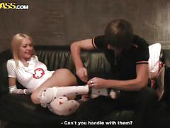 Russian babe gets laid on the couch