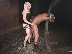 tattoo, femdom, bondage, bdsm, mistress, strap on, from behind, anal fuck, bald guy, blonde chick, shackles, lorelei lee, diezel, men in pain, kinky dollars