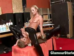 Sexy glam clothed lesbos eat each others pussy