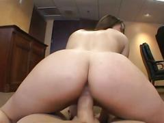 Sexy ass brunette girls takes cock in office