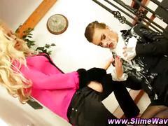 Slime gloryhole bukkake lesbians