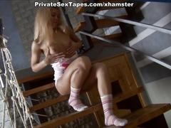 Homemade sex tape with shaved nub exposure, toy and rod fuck